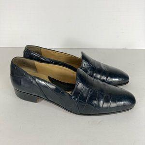 Mauri 9 Alligator Crocodile Navy Blue Loafer Shoes
